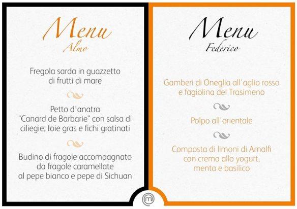 I menu della finale