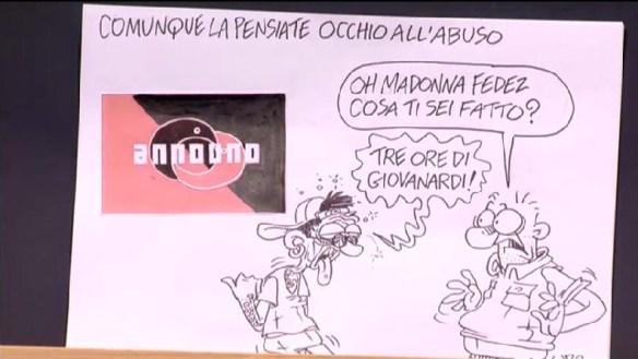 Fedez vs Giovanardi, visti da Vauro