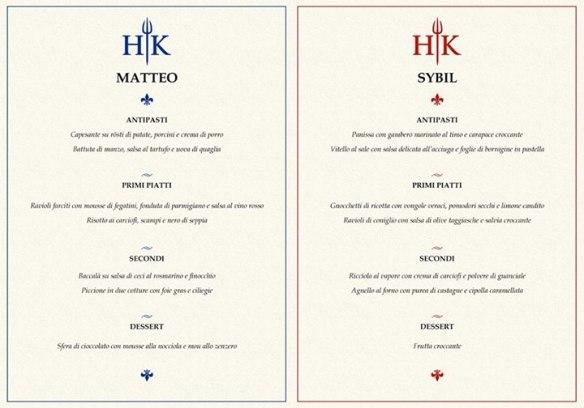 I menu di Sybil e Matteo