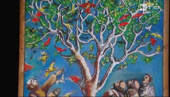 San Francesco parla agli uccelli (scenografia dipinta dallo stesso Fo)