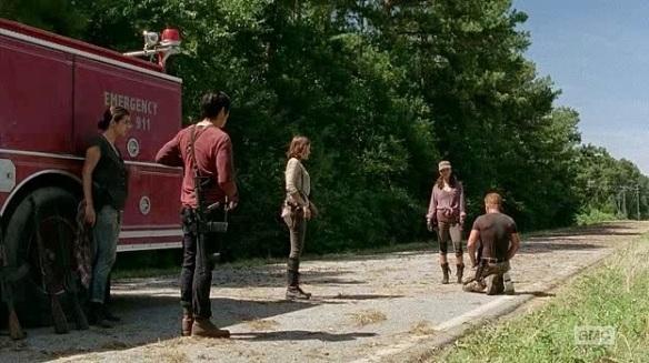 Abraham, Maggie, Glenn, Tara e Rosita